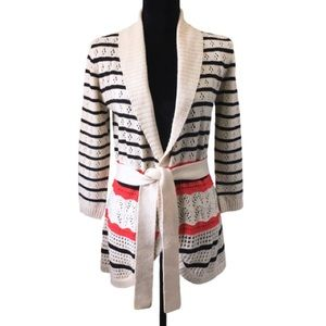 Belted Crochet-Knit Open Front Cardigan Suzy Shier